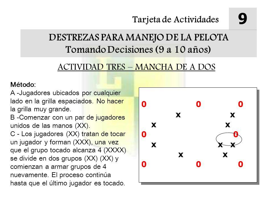 Tarjeta de Actividades 9 DESTREZAS PARA MANEJO DE LA PELOTA Tomando Decisiones (9 a 10 años) ACTIVIDAD TRES – MANCHA DE A DOS Método: A -Jugadores ubicados por cualquier lado en la grilla espaciados.