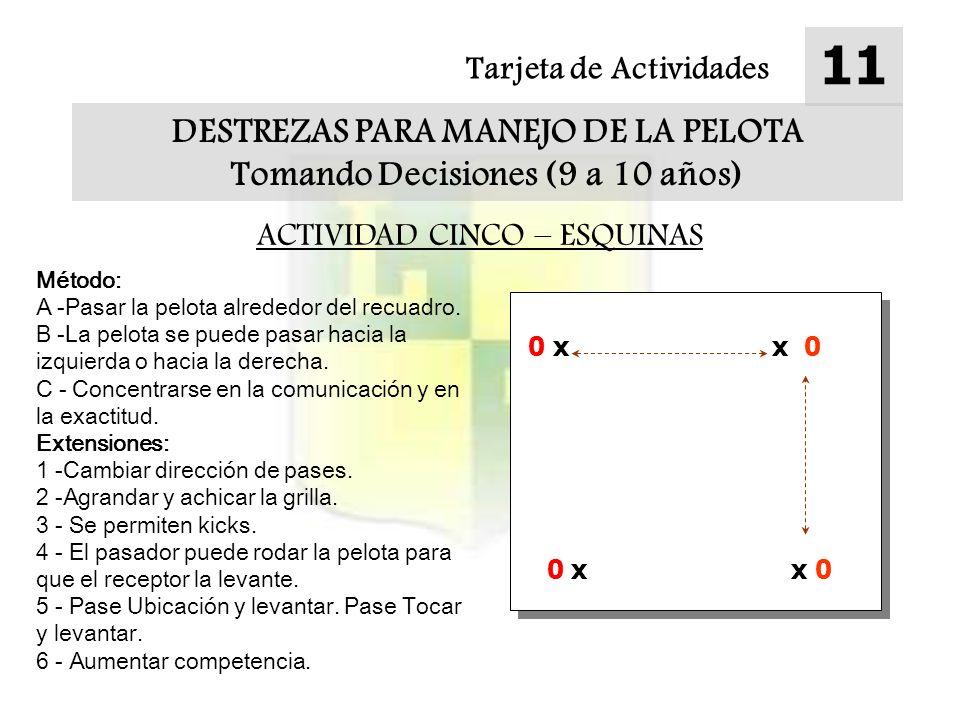 Tarjeta de Actividades 11 DESTREZAS PARA MANEJO DE LA PELOTA Tomando Decisiones (9 a 10 años) ACTIVIDAD CINCO – ESQUINAS Método: A -Pasar la pelota alrededor del recuadro.