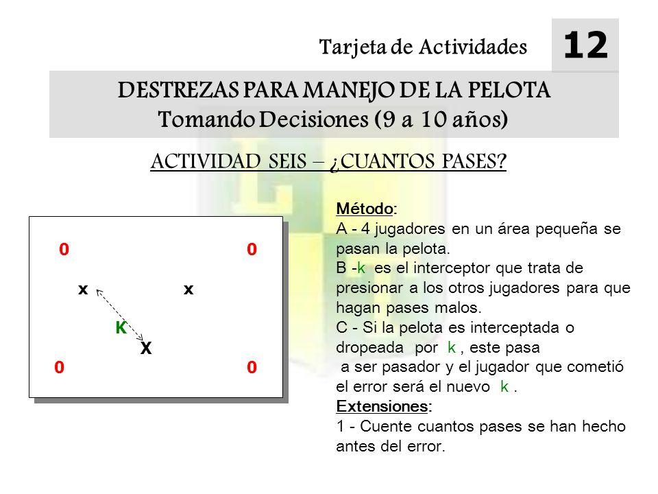 Tarjeta de Actividades 12 DESTREZAS PARA MANEJO DE LA PELOTA Tomando Decisiones (9 a 10 años) ACTIVIDAD SEIS – ¿CUANTOS PASES? Método: A - 4 jugadores