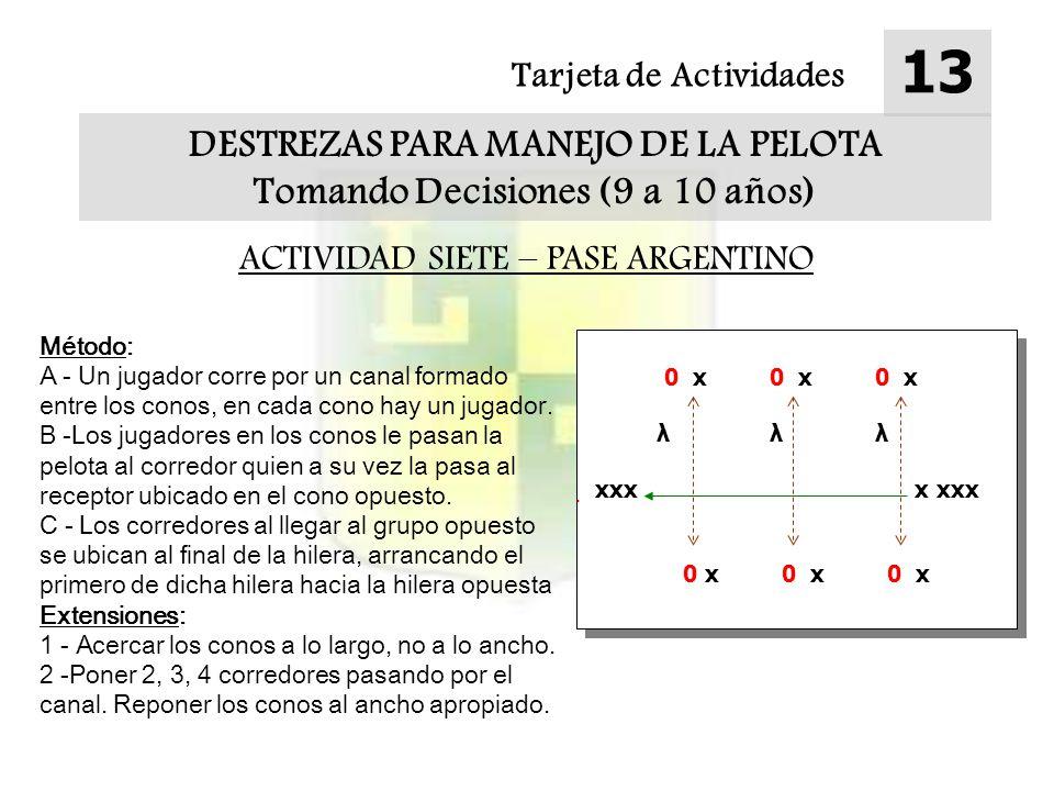 Tarjeta de Actividades 13 DESTREZAS PARA MANEJO DE LA PELOTA Tomando Decisiones (9 a 10 años) ACTIVIDAD SIETE – PASE ARGENTINO Método: A - Un jugador corre por un canal formado entre los conos, en cada cono hay un jugador.