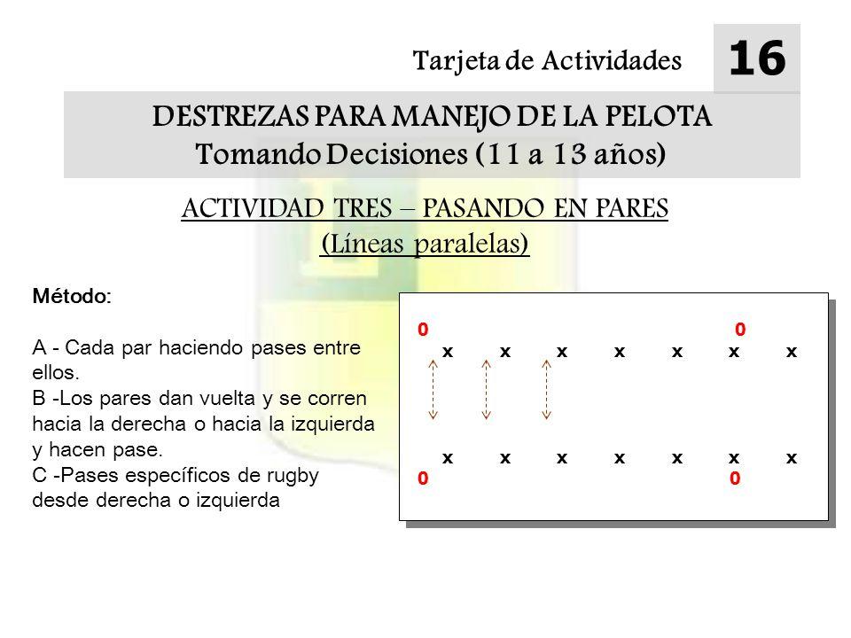 Tarjeta de Actividades 16 DESTREZAS PARA MANEJO DE LA PELOTA Tomando Decisiones (11 a 13 años) ACTIVIDAD TRES – PASANDO EN PARES (Líneas paralelas) Método: A - Cada par haciendo pases entre ellos.