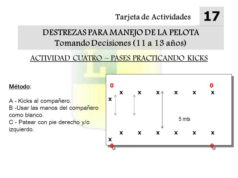Tarjeta de Actividades 17 DESTREZAS PARA MANEJO DE LA PELOTA Tomando Decisiones (11 a 13 años) ACTIVIDAD CUATRO – PASES PRACTICANDO KICKS Método: A - Kicks al compañero.