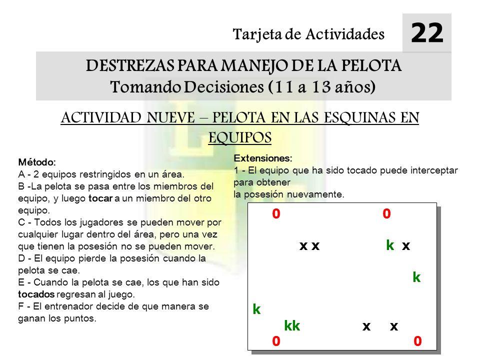 Tarjeta de Actividades 22 DESTREZAS PARA MANEJO DE LA PELOTA Tomando Decisiones (11 a 13 años) ACTIVIDAD NUEVE – PELOTA EN LAS ESQUINAS EN EQUIPOS 0 0 x x k x k kk x x 0 0 x x k x k kk x x 0 0 Método: A - 2 equipos restringidos en un área.