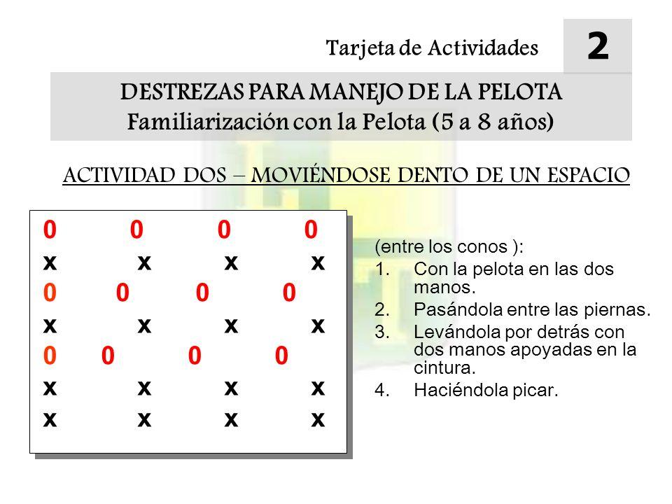 Tarjeta de Actividades 3 DESTREZAS PARA MANEJO DE LA PELOTA Familiarización con la Pelota (5 a 8 años) ACTIVIDAD TRES – TRABAJO DE A DOS Método: A - Los jugadores se pasan la pelota entre ellos Extensiones: 1.Rodar la pelota a los pares.