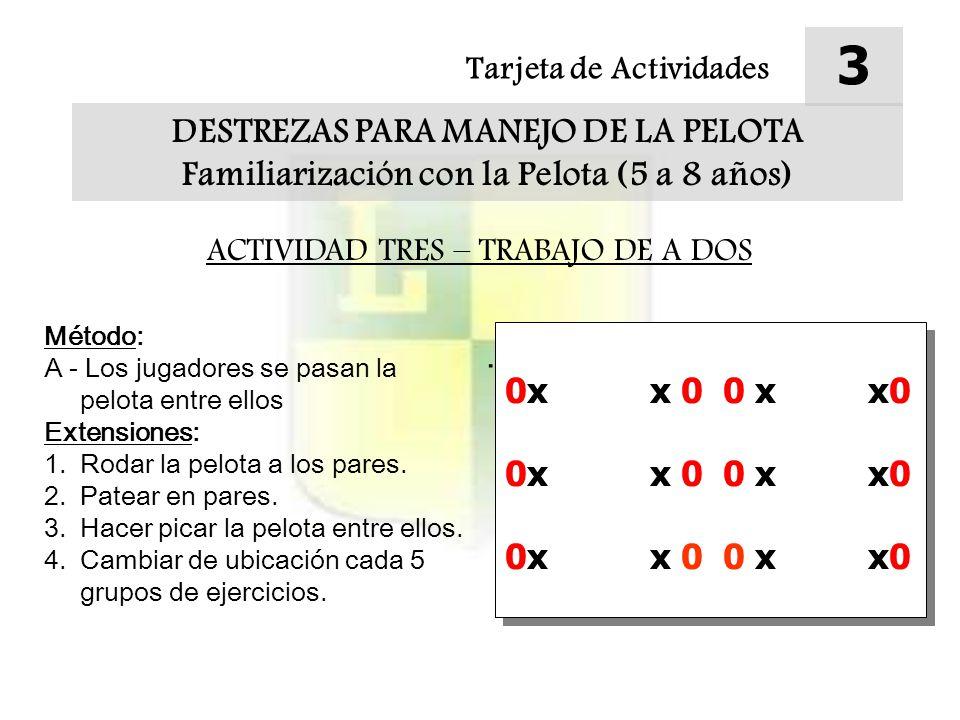 Tarjeta de Actividades 4 DESTREZAS PARA MANEJO DE LA PELOTA Familiarización con la Pelota (5 a 8 años) ACTIVIDAD CUATRO – REEMPLAZOS Método: A - Correr entre los conos con la pelota entre las dos manos.