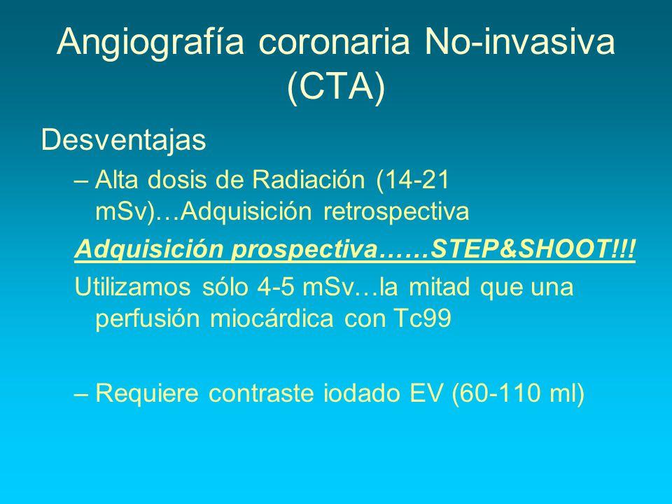 Angiografía coronaria No-invasiva (CTA) Desventajas –Alta dosis de Radiación (14-21 mSv)…Adquisición retrospectiva Adquisición prospectiva……STEP&SHOOT