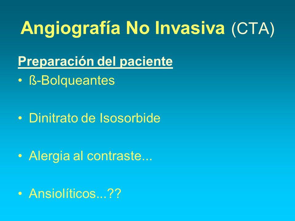 Angiografía No Invasiva (CTA) Preparación del paciente ß-Bolqueantes Dinitrato de Isosorbide Alergia al contraste... Ansiolíticos...??