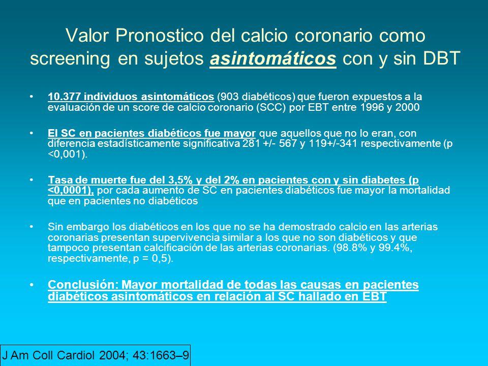 Valor Pronostico del calcio coronario como screening en sujetos asintomáticos con y sin DBT 10.377 individuos asintomáticos (903 diabéticos) que fuero