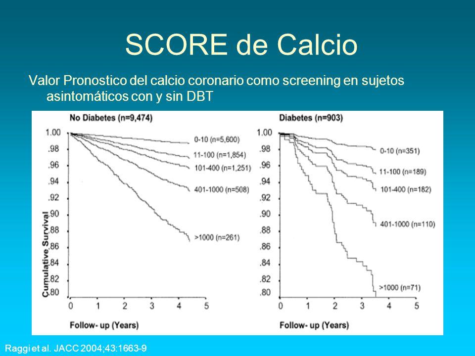 SCORE de Calcio Valor Pronostico del calcio coronario como screening en sujetos asintomáticos con y sin DBT Raggi et al. JACC 2004;43:1663-9
