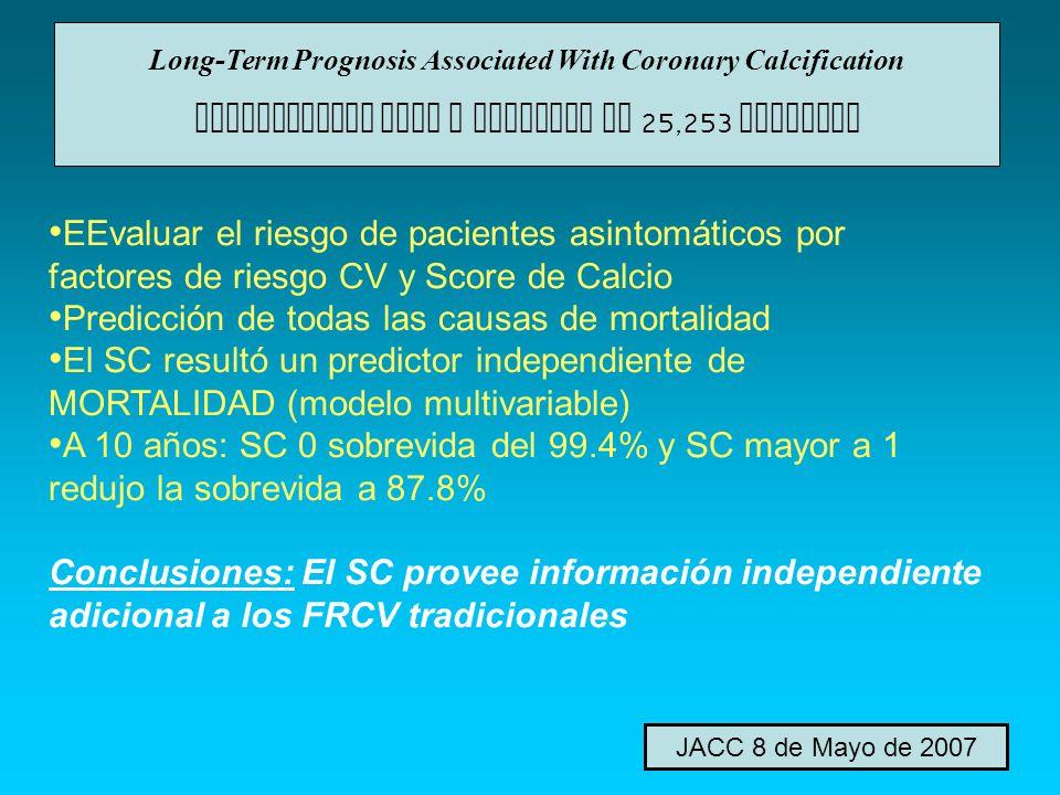 EEvaluar el riesgo de pacientes asintomáticos por factores de riesgo CV y Score de Calcio Predicción de todas las causas de mortalidad El SC resultó u