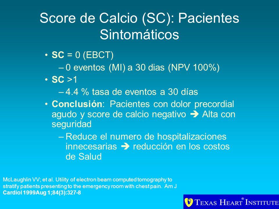 Score de Calcio (SC): Pacientes Sintomáticos SC = 0 (EBCT) –0 eventos (MI) a 30 dias (NPV 100%) SC >1 –4.4 % tasa de eventos a 30 días Conclusión: Pac