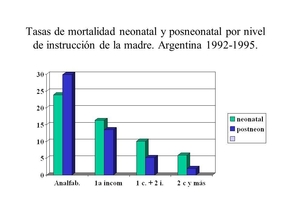 Tasas de mortalidad neonatal y posneonatal por nivel de instrucción de la madre. Argentina 1992-1995.