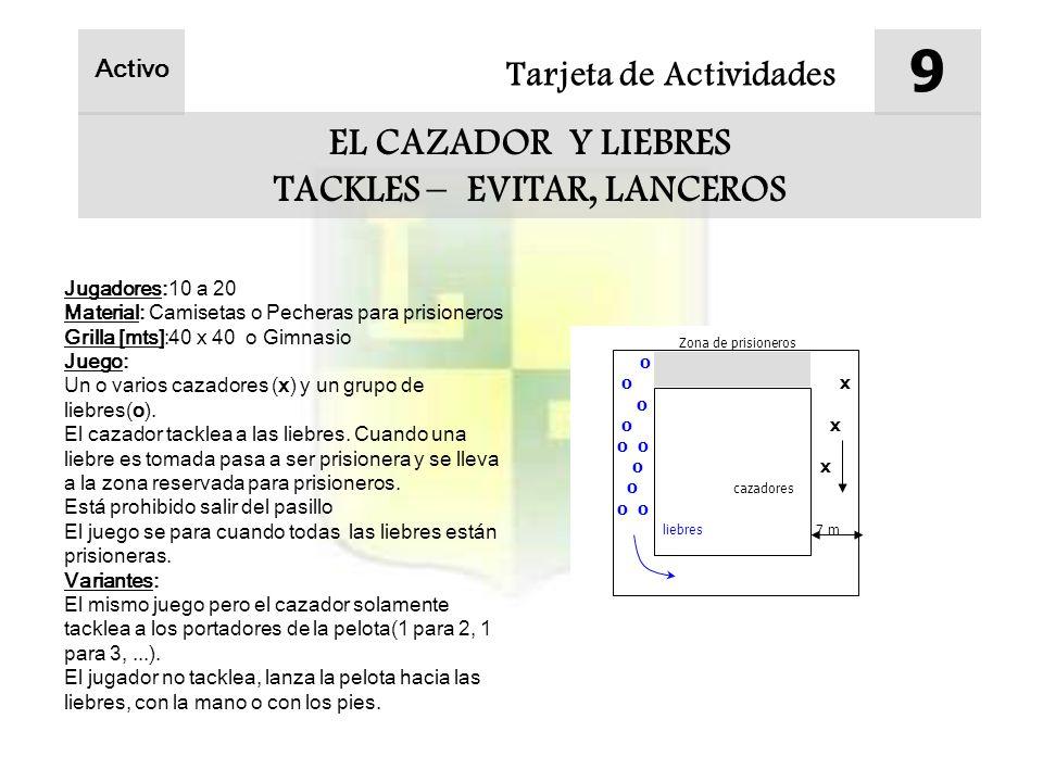 Tarjeta de Actividades 9 EL CAZADOR Y LIEBRES TACKLES – EVITAR, LANCEROS Activo Jugadores:10 a 20 Material: Camisetas o Pecheras para prisioneros Gril