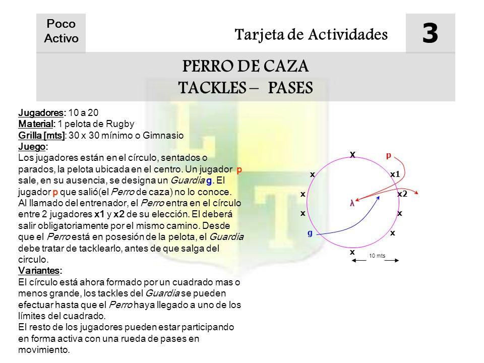 Tarjeta de Actividades 3 PERRO DE CAZA TACKLES – PASES Poco Activo Jugadores: 10 a 20 Material: 1 pelota de Rugby Grilla [mts]: 30 x 30 mínimo o Gimna