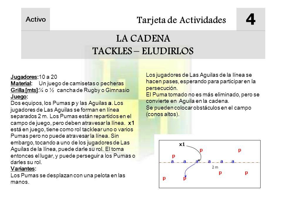 Tarjeta de Actividades 4 LA CADENA TACKLES – ELUDIRLOS Activo Jugadores:10 a 20 Material:Un juego de camisetas o pecheras Grilla [mts]:¼ o ½ cancha de