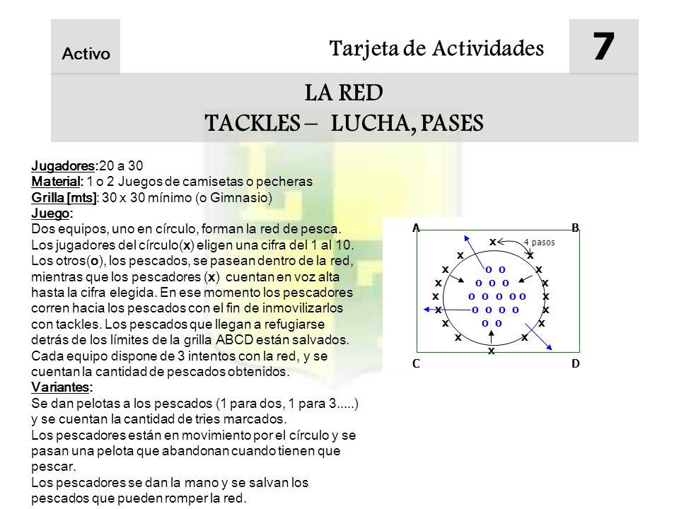 Tarjeta de Actividades 7 LA RED TACKLES – LUCHA, PASES Activo Jugadores:20 a 30 Material: 1 o 2 Juegos de camisetas o pecheras Grilla [mts]: 30 x 30 m