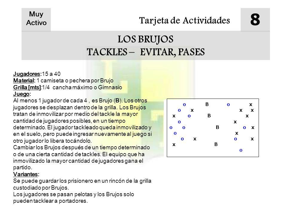 Tarjeta de Actividades 8 LOS BRUJOS TACKLES – EVITAR, PASES Muy Activo Jugadores:15 a 40 Material: 1 camiseta o pechera por Brujo Grilla [mts]:1/4 can