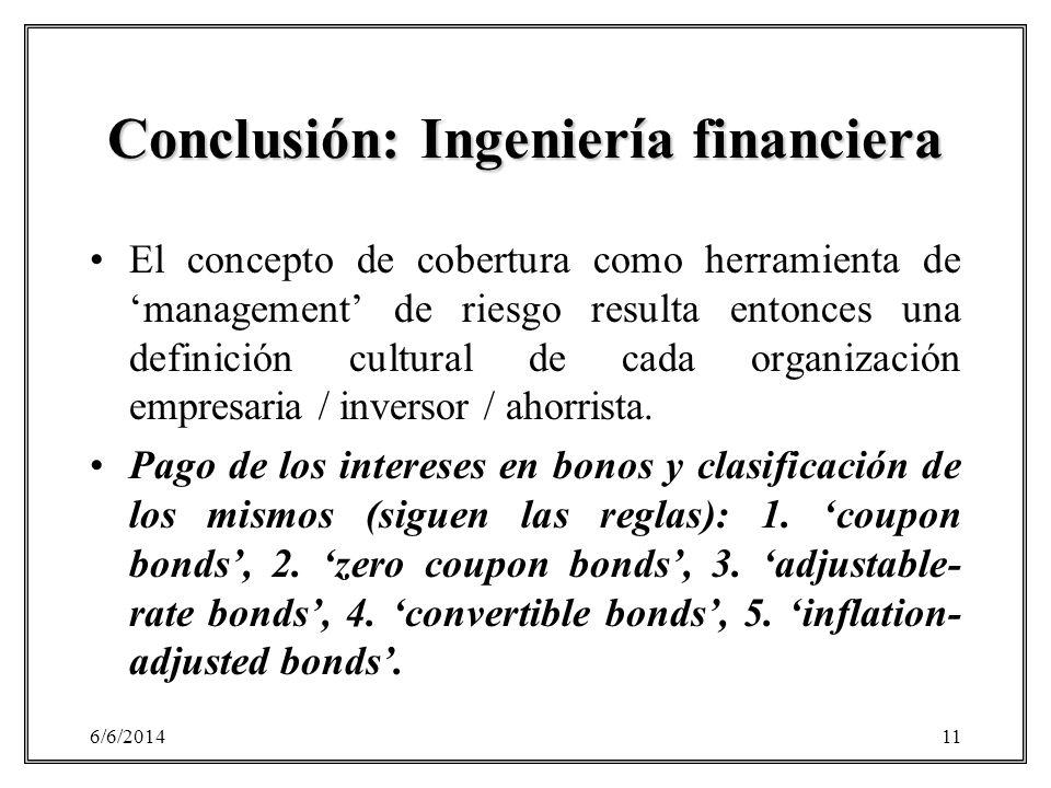 6/6/201411 Conclusión: Ingeniería financiera El concepto de cobertura como herramienta de management de riesgo resulta entonces una definición cultura