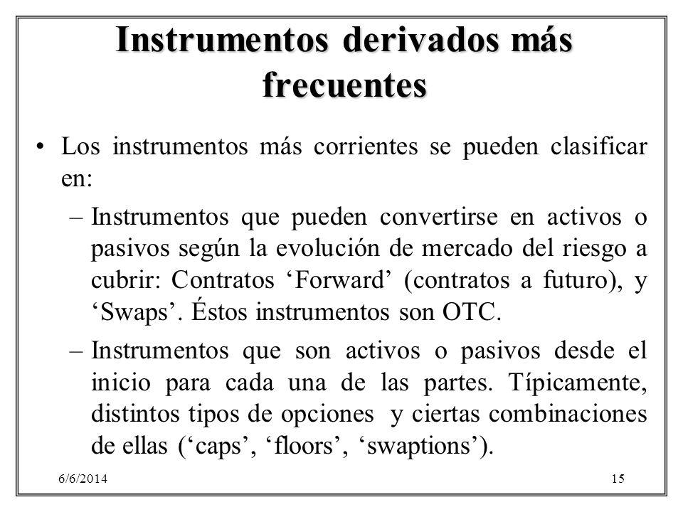 6/6/201415 Instrumentos derivados más frecuentes Los instrumentos más corrientes se pueden clasificar en: –Instrumentos que pueden convertirse en acti