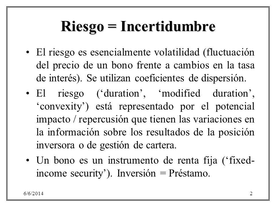 6/6/20142 Riesgo = Incertidumbre El riesgo es esencialmente volatilidad (fluctuación del precio de un bono frente a cambios en la tasa de interés). Se