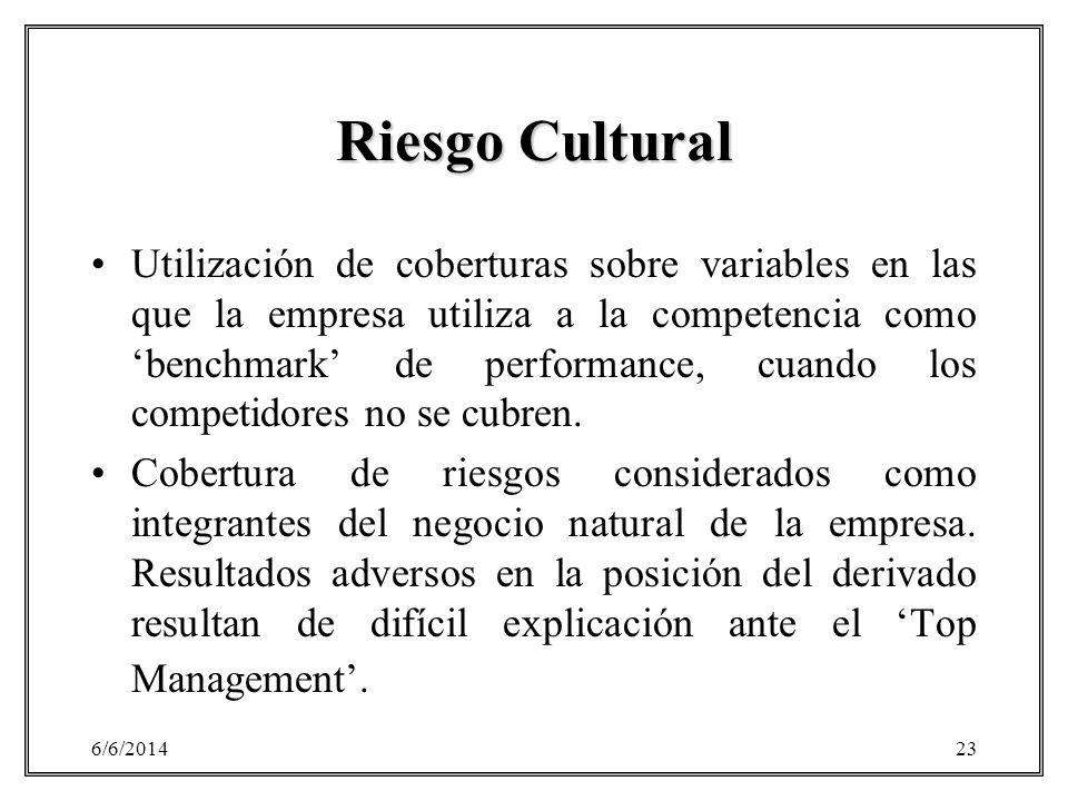 6/6/201423 Riesgo Cultural Utilización de coberturas sobre variables en las que la empresa utiliza a la competencia como benchmark de performance, cua