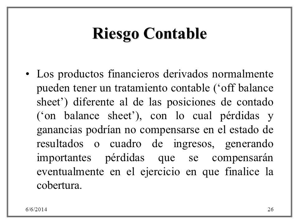 6/6/201426 Riesgo Contable Los productos financieros derivados normalmente pueden tener un tratamiento contable (off balance sheet) diferente al de la