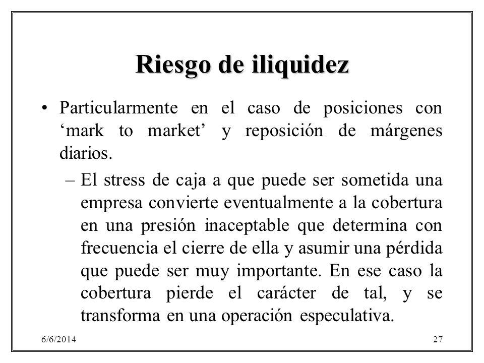 6/6/201427 Riesgo de iliquidez Particularmente en el caso de posiciones con mark to market y reposición de márgenes diarios. –El stress de caja a que