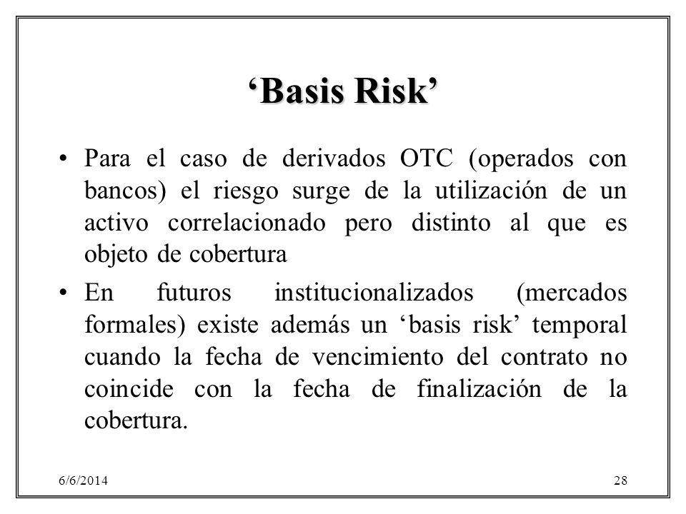 6/6/201428 Basis Risk Para el caso de derivados OTC (operados con bancos) el riesgo surge de la utilización de un activo correlacionado pero distinto