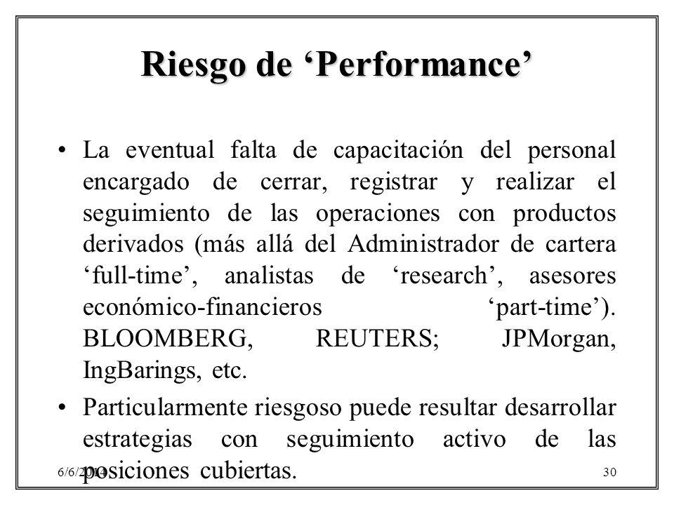 6/6/201430 Riesgo de Performance La eventual falta de capacitación del personal encargado de cerrar, registrar y realizar el seguimiento de las operac