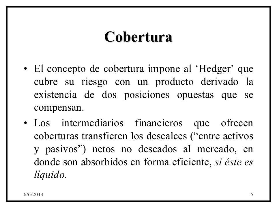 6/6/20145 Cobertura El concepto de cobertura impone al Hedger que cubre su riesgo con un producto derivado la existencia de dos posiciones opuestas qu