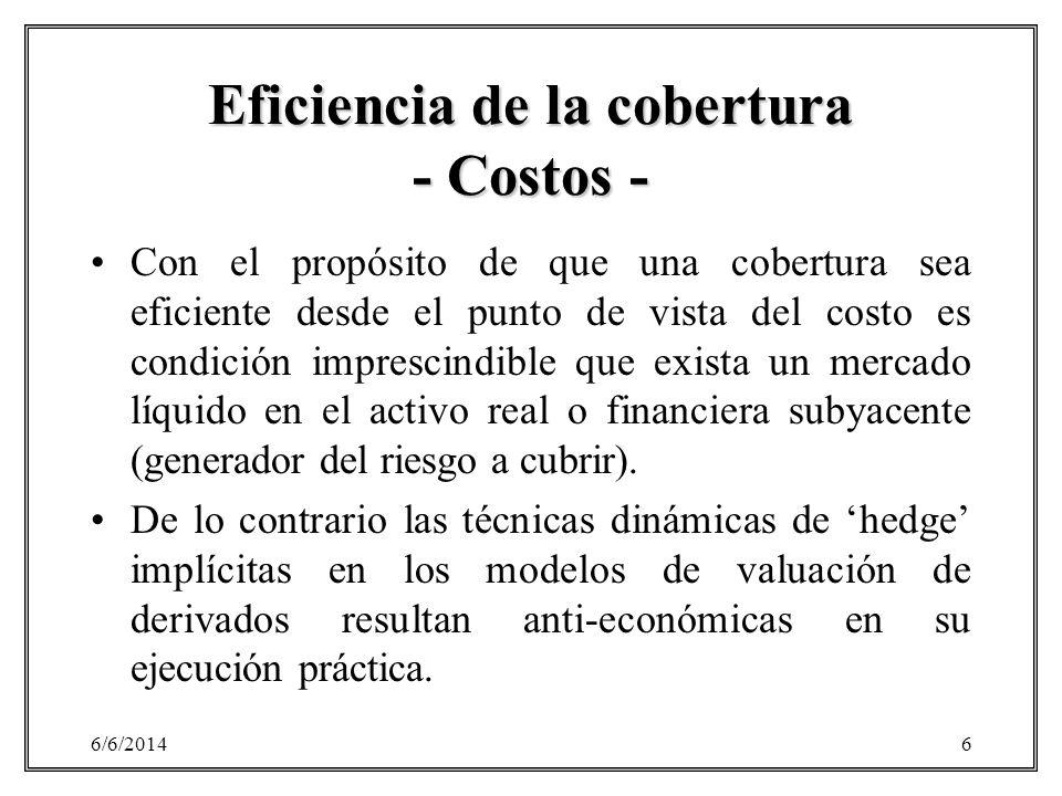 6/6/20146 Eficiencia de la cobertura - Costos - Con el propósito de que una cobertura sea eficiente desde el punto de vista del costo es condición imp
