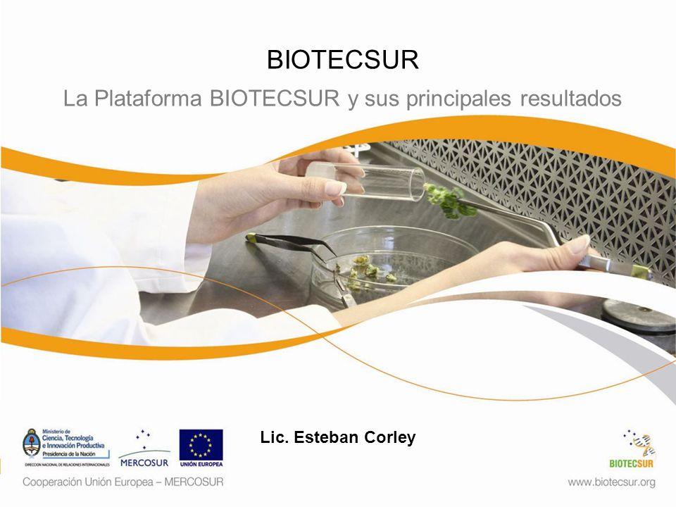 BIOTECSUR La Plataforma BIOTECSUR y sus principales resultados Lic. Esteban Corley