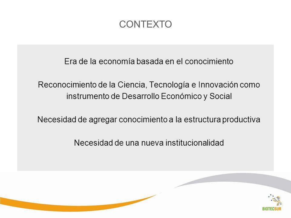 Era de la economía basada en el conocimiento Reconocimiento de la Ciencia, Tecnología e Innovación como instrumento de Desarrollo Económico y Social N
