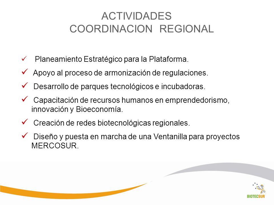 ACTIVIDADES COORDINACION REGIONAL Planeamiento Estratégico para la Plataforma. Apoyo al proceso de armonización de regulaciones. Desarrollo de parques
