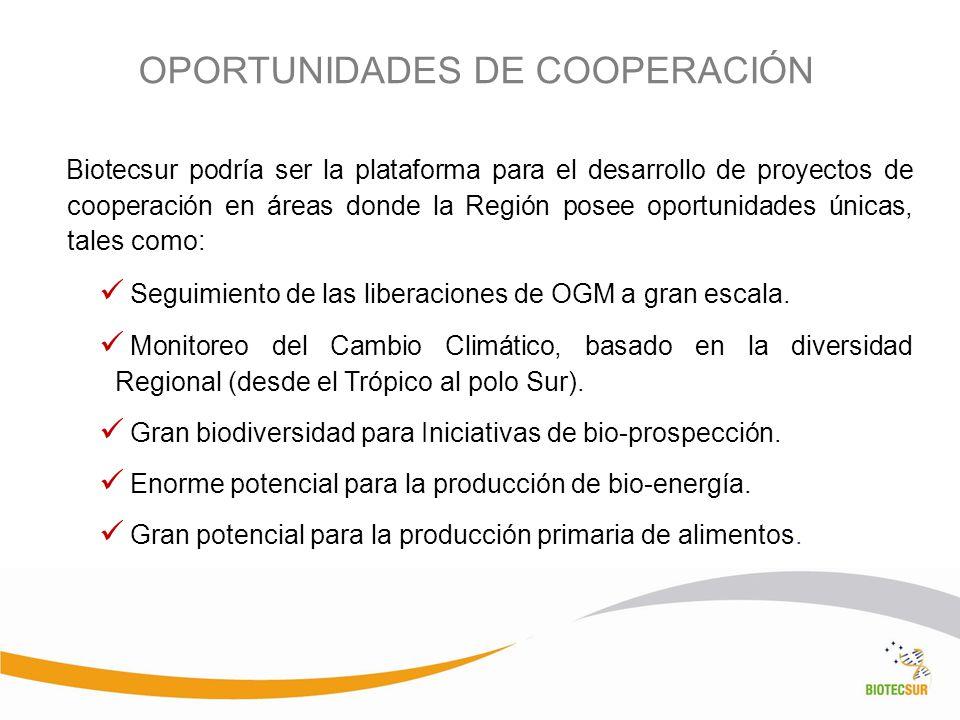 OPORTUNIDADES DE COOPERACIÓN Biotecsur podría ser la plataforma para el desarrollo de proyectos de cooperación en áreas donde la Región posee oportuni
