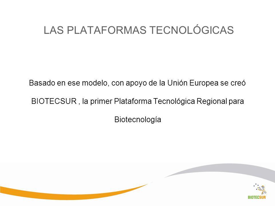LAS PLATAFORMAS TECNOLÓGICAS Basado en ese modelo, con apoyo de la Unión Europea se creó BIOTECSUR, la primer Plataforma Tecnológica Regional para Bio
