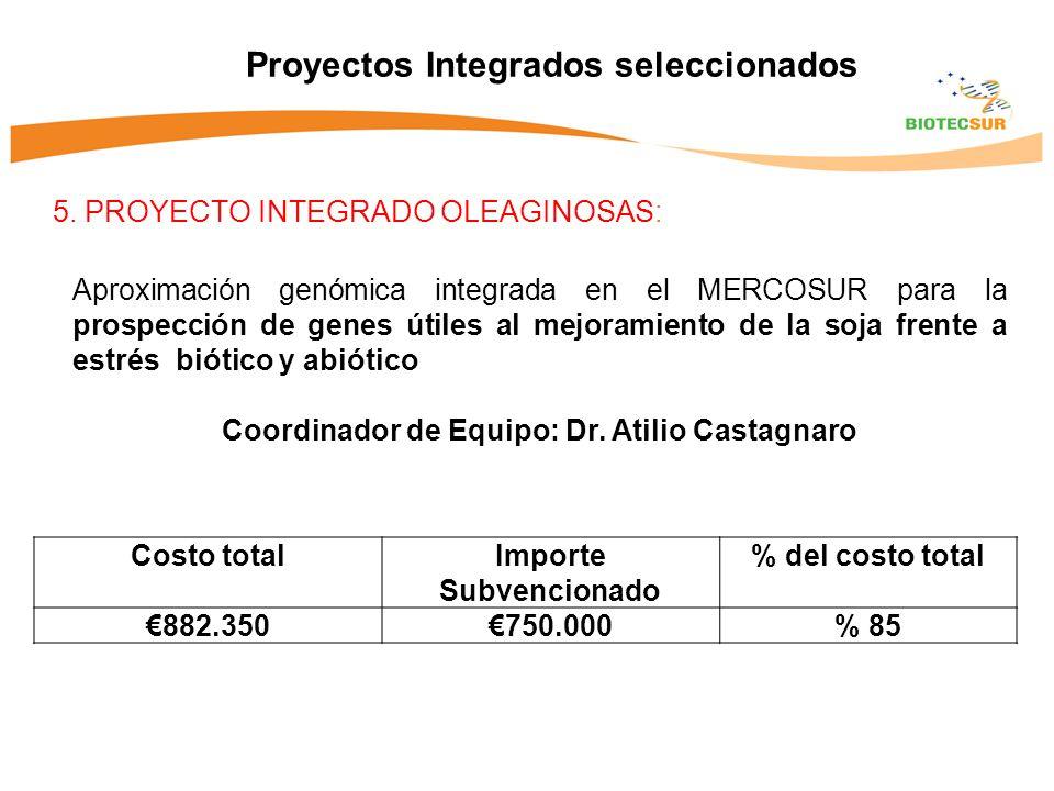 5. PROYECTO INTEGRADO OLEAGINOSAS: Proyectos Integrados seleccionados Aproximación genómica integrada en el MERCOSUR para la prospección de genes útil
