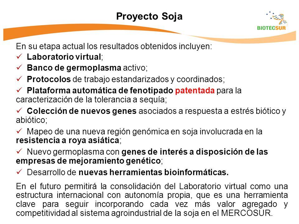 Proyecto Soja En su etapa actual los resultados obtenidos incluyen: Laboratorio virtual; Banco de germoplasma activo; Protocolos de trabajo estandarizados y coordinados; Plataforma automática de fenotipado patentada para la caracterización de la tolerancia a sequía; Colección de nuevos genes asociados a respuesta a estrés biótico y abiótico; Mapeo de una nueva región genómica en soja involucrada en la resistencia a roya asiática; Nuevo germoplasma con genes de interés a disposición de las empresas de mejoramiento genético; Desarrollo de nuevas herramientas bioinformáticas.