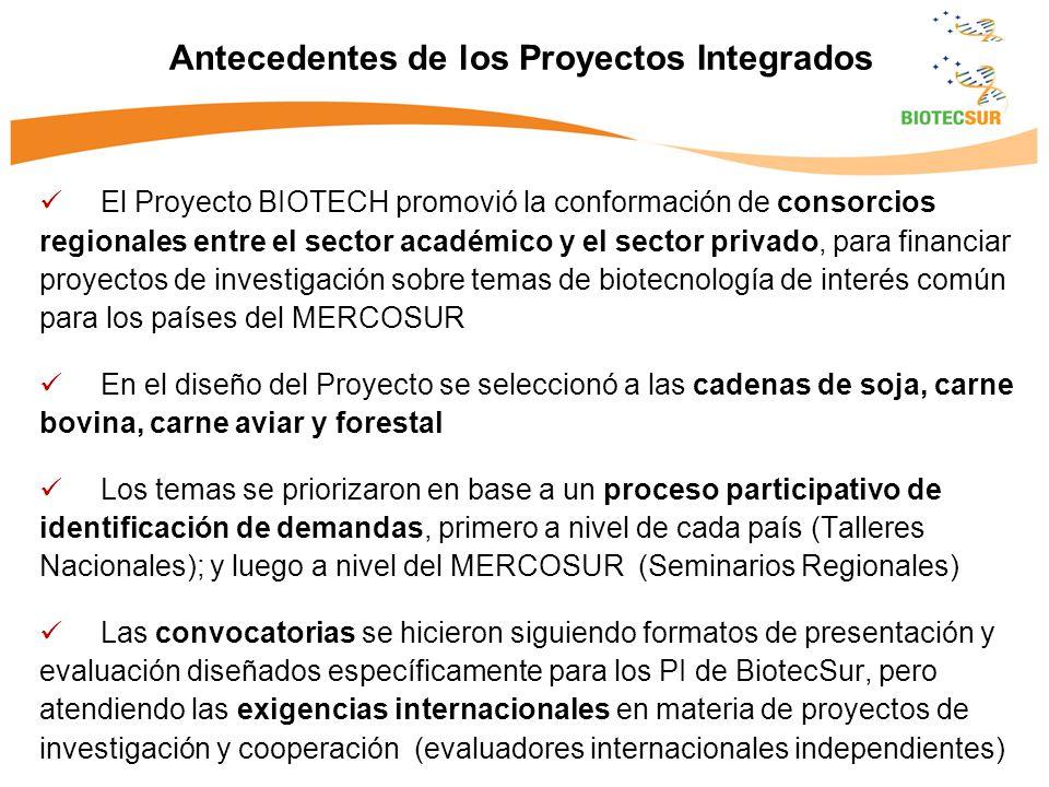 El Proyecto BIOTECH promovió la conformación de consorcios regionales entre el sector académico y el sector privado, para financiar proyectos de inves