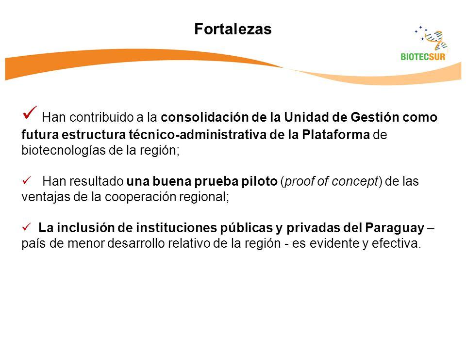Han contribuido a la consolidación de la Unidad de Gestión como futura estructura técnico-administrativa de la Plataforma de biotecnologías de la región; Han resultado una buena prueba piloto (proof of concept) de las ventajas de la cooperación regional; La inclusión de instituciones públicas y privadas del Paraguay – país de menor desarrollo relativo de la región - es evidente y efectiva.
