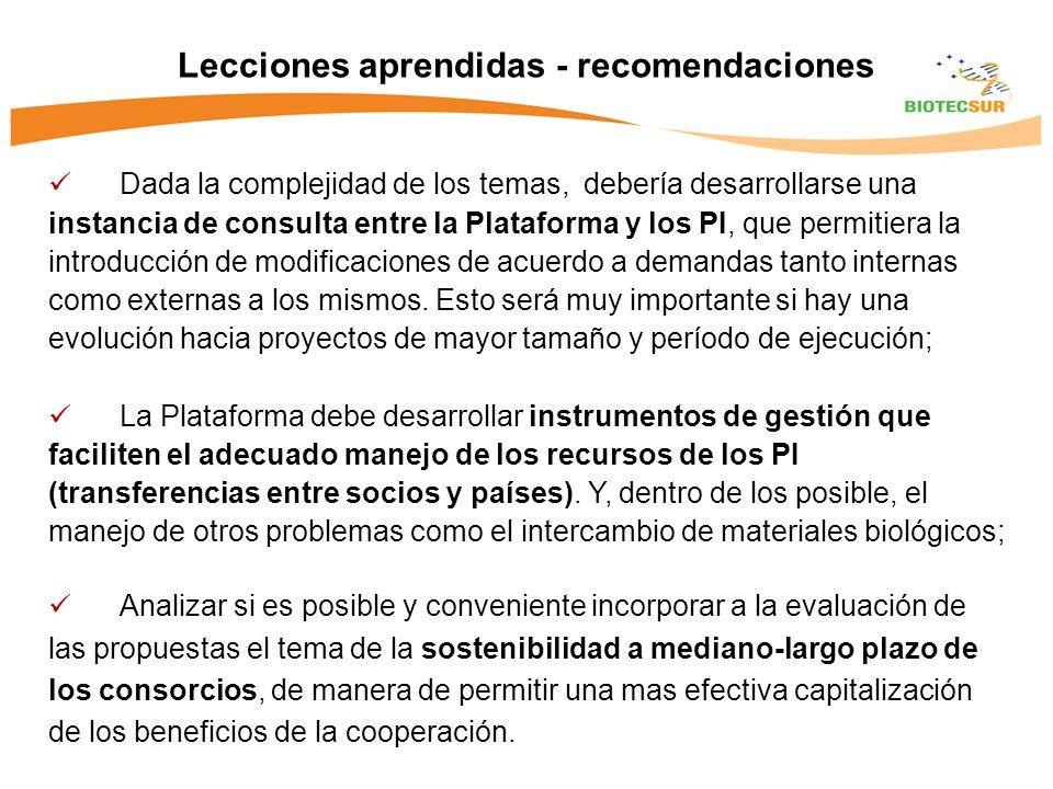 Dada la complejidad de los temas, debería desarrollarse una instancia de consulta entre la Plataforma y los PI, que permitiera la introducción de modificaciones de acuerdo a demandas tanto internas como externas a los mismos.