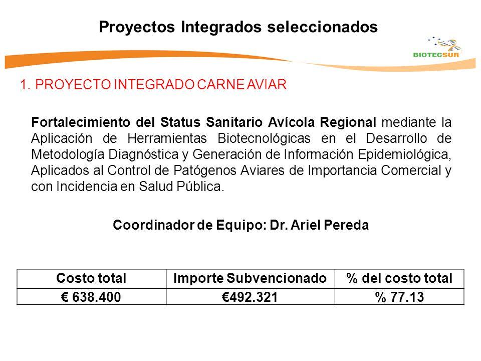 1.PROYECTO INTEGRADO CARNE AVIAR Proyectos Integrados seleccionados Fortalecimiento del Status Sanitario Avícola Regional mediante la Aplicación de Herramientas Biotecnológicas en el Desarrollo de Metodología Diagnóstica y Generación de Información Epidemiológica, Aplicados al Control de Patógenos Aviares de Importancia Comercial y con Incidencia en Salud Pública.