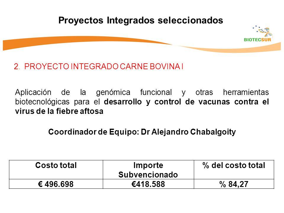 2. PROYECTO INTEGRADO CARNE BOVINA I Proyectos Integrados seleccionados Aplicación de la genómica funcional y otras herramientas biotecnológicas para