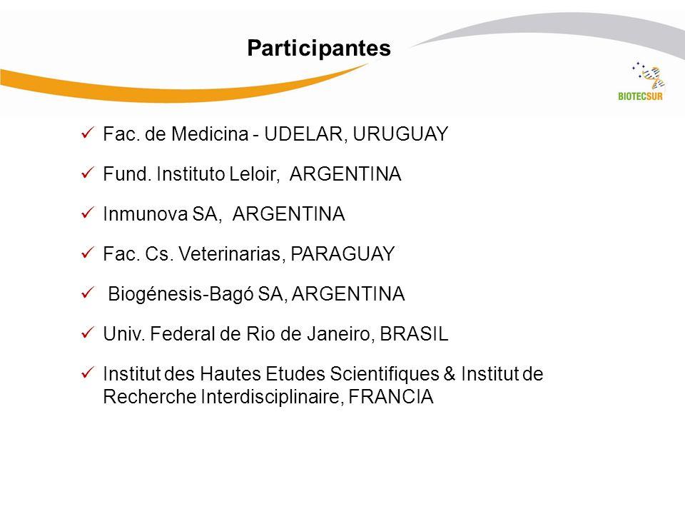 Participantes Fac. de Medicina - UDELAR, URUGUAY Fund. Instituto Leloir, ARGENTINA Inmunova SA, ARGENTINA Fac. Cs. Veterinarias, PARAGUAY Biogénesis-B