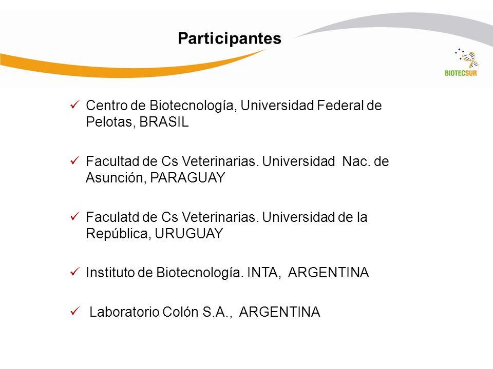 Participantes Centro de Biotecnología, Universidad Federal de Pelotas, BRASIL Facultad de Cs Veterinarias. Universidad Nac. de Asunción, PARAGUAY Facu
