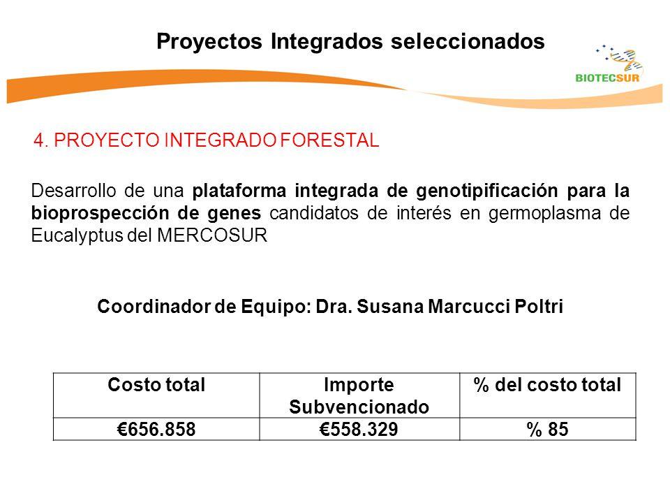 4. PROYECTO INTEGRADO FORESTAL Proyectos Integrados seleccionados Desarrollo de una plataforma integrada de genotipificación para la bioprospección de