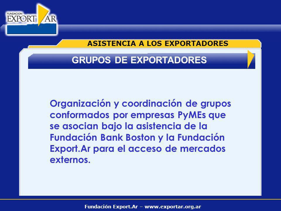 Fundación Export.Ar – www.exportar.org.ar GRUPOS DE EXPORTADORES ASISTENCIA A LOS EXPORTADORES Organización y coordinación de grupos conformados por e