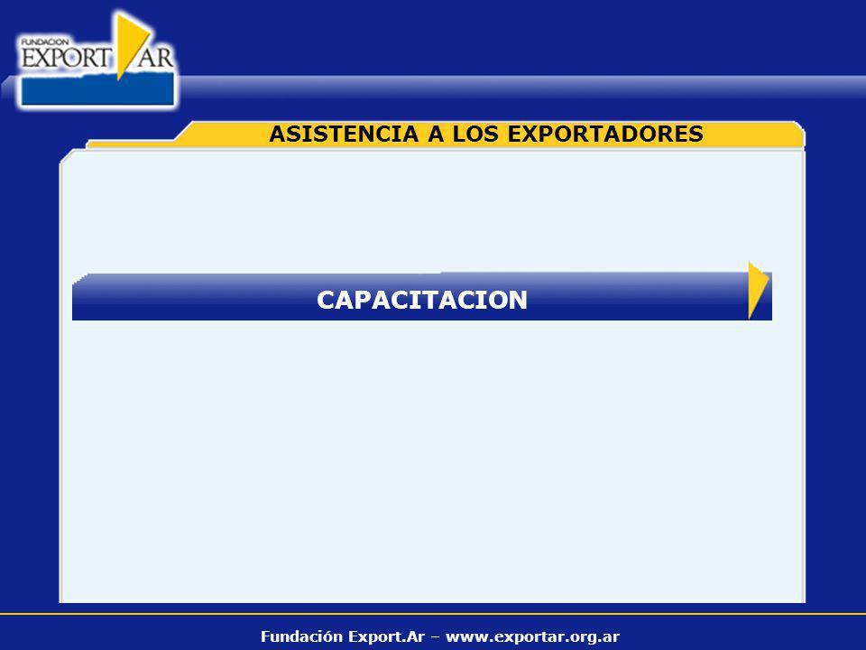 Fundación Export.Ar – www.exportar.org.ar CAPACITACION ASISTENCIA A LOS EXPORTADORES