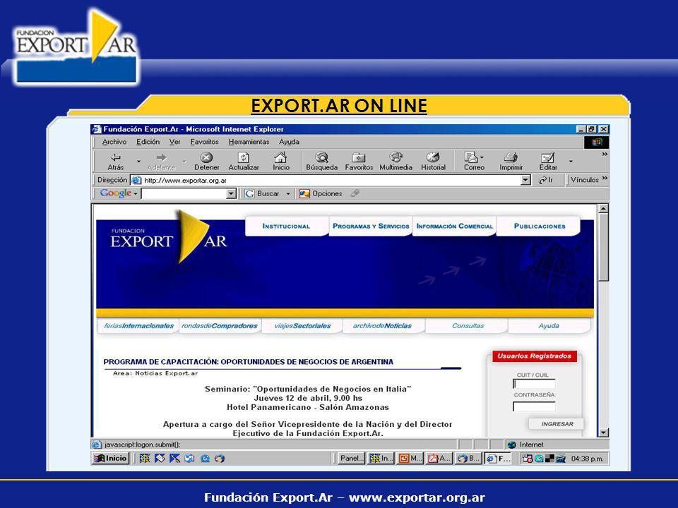 Fundación Export.Ar – www.exportar.org.ar EXPORT.AR ON LINE
