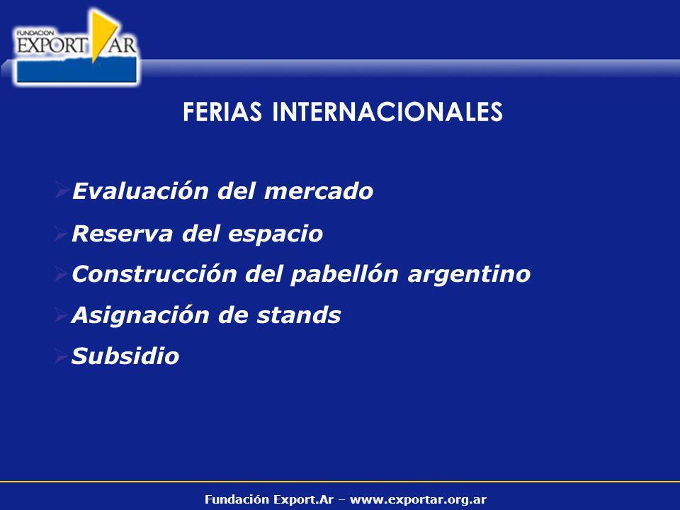Fundación Export.Ar – www.exportar.org.ar Evaluación del mercado Reserva del espacio Construcción del pabellón argentino Asignación de stands Subsidio FERIAS INTERNACIONALES
